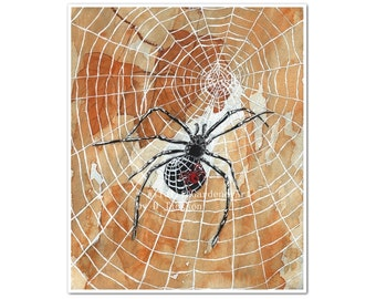 Spiders and Webs Watercolor Art Print, Modern Insect Art, Modern Rustic Wall Art, Gift for Him