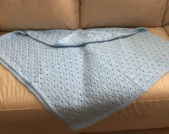Baby Blue Handmade Knit Blanket