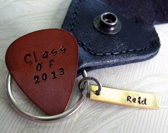 Personalized Graduation Guitar Pick Keychain, Hand Stamped Custom Keychain,  Graduate Gift, Copper Guitar Pick, Class of 2016