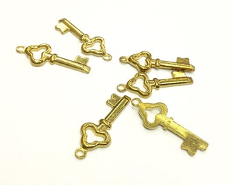 8 Pieces Small Skeleton Key Charms, Antique Gold Plated Brass, Vintage, 20x8mm