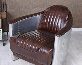 Leather Armchair Aeroplane Design Club Chair & ALUMINIUM AVIATOR Vintage 1930's Art Deco design.