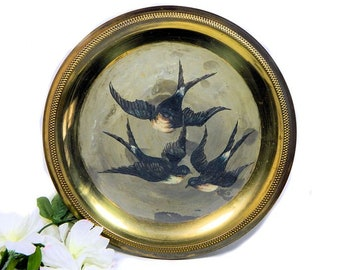Old Brass Wall Plaque Hand Painted with Swallows
