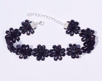 Black Flower Choker