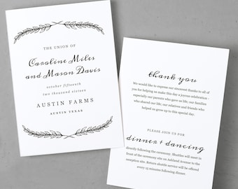 Wedding Program Template Fancy Script Printable Program - 5x7 wedding program template