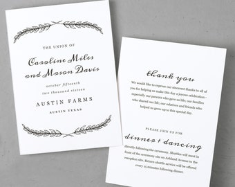 Wedding Program Template Fancy Script Printable Program - 5x7 wedding program template