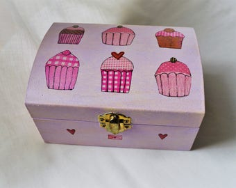 Cute cupcake design hand painted and decoupaged wooden box