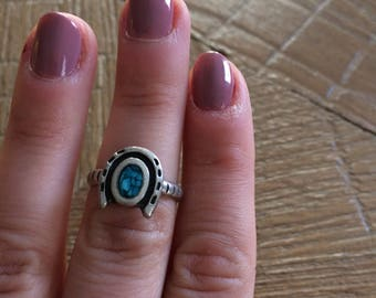 Lucky Horseshoe Ring - Turquoise and Silver