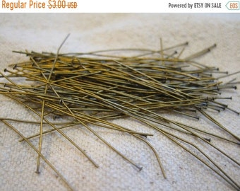 ON SALE 2 Inch Antique Brass Two Inch Headpins 24 gauge 100 pcs F324