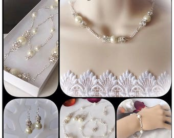Bridal Pearl & Crystal Diamante Jewellery Set with Necklace, Bracelet and Earrings by Emerald Forest Designs