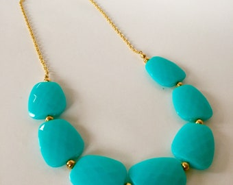 Pool Blue and Gold Chunky Statement Necklace
