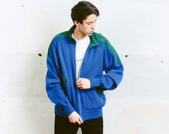 Vintage Knitted Jacket . Vintage Mens 90s Jacket Navy Blue Knit Cardigan Knitwear Winter Comfy Cardigan Boyfriend Wear . size Medium M