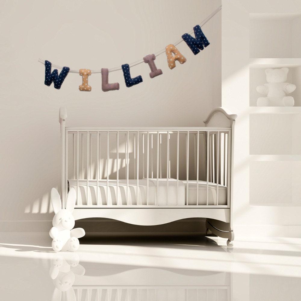 guirlande pr nom d co chambre b b banderole letters bleu. Black Bedroom Furniture Sets. Home Design Ideas