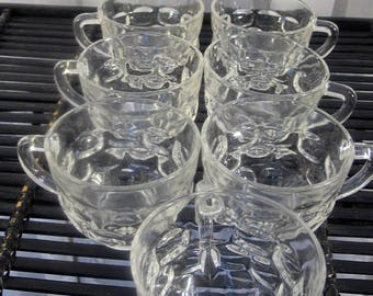 Vintage 80's Fostoria set of 7 clear glass punch cups