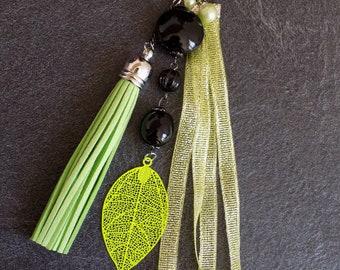 Handbag Black beads and lime