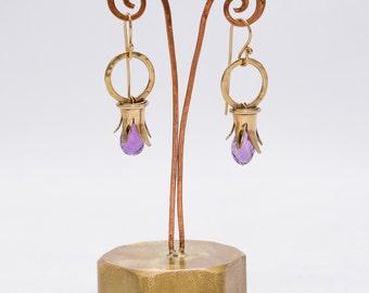 Pomegranate earrings - Amethyst earrings - 9k Gold