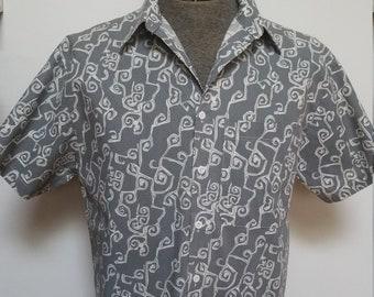 Vintage Abstract Modern Print Short Sleeve Modern Summer Shirt