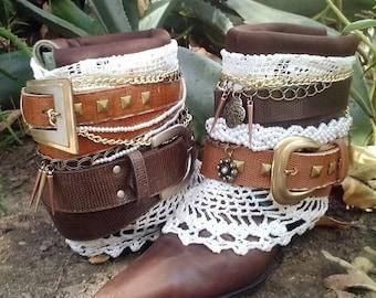 Upcycled Cowboy Boho Boots- Vintage Repurposed Custom- Warrior Princess