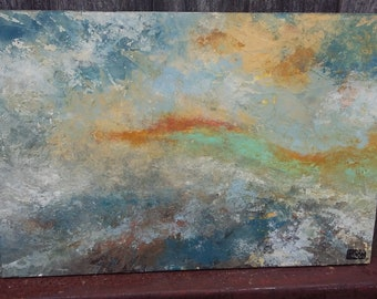 Original Oil or Acrylic Sunset. 'Spume and Sunset'