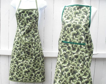 "Apron, ""Botanical Green""...Housewarming Gift for cooks and gardeners"