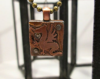 DRAGON Printing Block Necklace