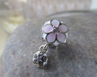 Pandora Magnolia Bloom Pale Cerise Enamel Pink, Clear CZ 792077PCZ Genuine Designer Sterling Silver Charm/Bead Free Velvet Pouch Bag