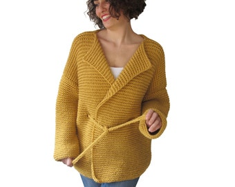 Cardigan with Knitting Belt by Afra Plus Size Over Size