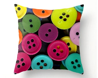 COLORFUL BUTTONS Made to Order decorative throw pillow, novelty cushion gifts for sewing room, scatter cushion, pillow cover, cushion cover
