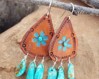 Cowgirl Earrings - Leather Teardrop Earrings  - Sterling Silver - Flower - Turquoise Dangle - Western Jewelry by Heart of a Cowgirl