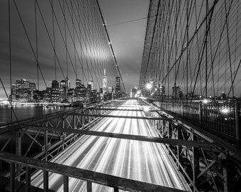 NYC - Brooklyn Bridge - New York City Photography - Brooklyn at Night - Lower Manhattan - Night in NYC - New York - Mounted Print