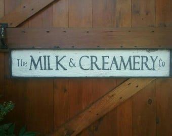 "LARGE Vintage Style ""The MILK & CREAMERY Co""  Wood Sign Framed Wall Farmhouse Decor"