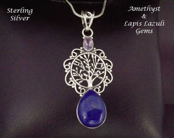 Tree of Life Necklace: Lapis Lazuli and Amethyst Gems in an Ornate 925 Sterling Silver Pendant | Celtic, Gifts for Women, Silver Pendant 045
