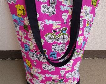 Pink shoulder bag with environmental protection motives, handmade bag, just one item, unique