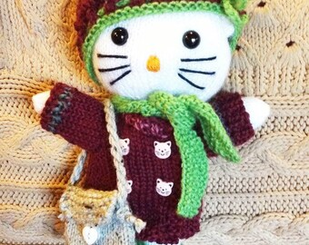 """KNITTING tutorial: Cat and her knitted winter clothes """"inspired Hello Kitty"""""""