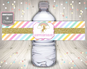 INSTANT DOWNLOAD Printable Unicorn Water Bottle Wrappers / Labels / Birthday Party / Unicorn & Rainbows Collection / Item #3523