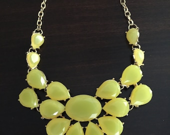 yellow statement necklace, statement necklace, yellow necklace, fashion necklace, fashion jewelry, gold necklace, gem choker necklace