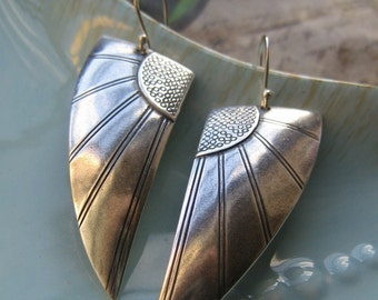 SALE Gorgeous Art Deco Silver Angel Wings Earrings