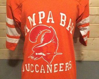 Vintage 1980's Tampa Bay Bucaneers Original Logo  Football 50/50 Jersey T-Shirt Thin and Soft Made in USA
