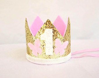 First Birthday Crown, First Birthday Outfit, 1st Birthday, First Birthday Crown, Cake Smash Headband Crown, Pink + Gold Birthday, Birthday H
