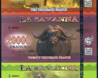 La Savanna Set, 10000, 20000 and 50000 Francs, 2016 - 3 Note Set