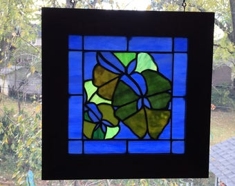Original stained glass spring Gingko leaves