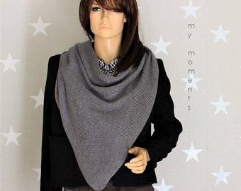 Triangle scarf, Merino, medium gray