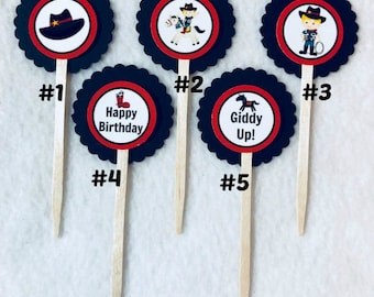 Set Of 12 Personalized Cowboy Birthday Party Cupcake Toppers (Your Choice Of 12)
