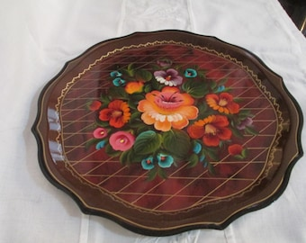 Toleware Metal Tray/Metal Tray Tole ware/Floral Serving Tray/Hand Painted Toleware /Mid Century Toleware Painted Tray by Gatormom13