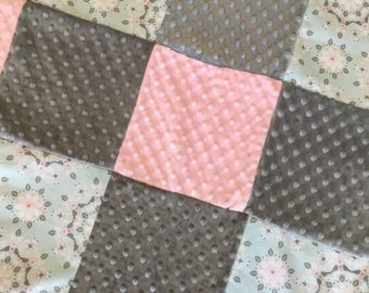 Baby blanket quilt girl Pink gray aqua silver minky dot READY TO SHIP