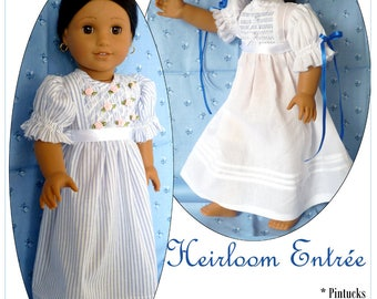 Pixie Faire Karen Lorraine Design Heirloom Entree Doll Clothes Pattern for 18 Inch Dolls Such As American Girl - PDF