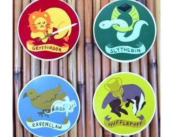 Harry Potter Hogwarts Houses Vinyl Sticker Decal Set - Gryffindor sword, Slytherin ring, Ravenclaw diadem, Hufflepuff cup