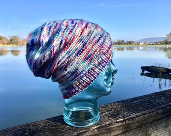 Multicolored Wool Slouchy Knit Hat