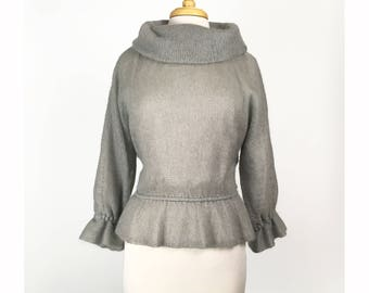 Vintage Gray Wool Cowl Neck Peplum Sweater Made in FRANCE Medium Large Knit