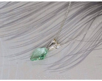 Half Price Sale, 50% Off, Green Crystal Necklace, Green Necklace, Pocket Money, Nanny Gift, Green Jewellery, Clearance sale, Green Diamond,