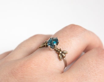 London Blue Topaz - Silver Bee Ring - Honeybee Ring - Bee Jewelry - Bee Gift - Stacking Ring - Topaz Ring - December Birthstone